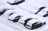 Snowy parking — Stock Photo