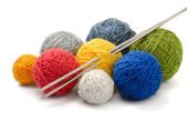 Yarn and needles — 图库照片