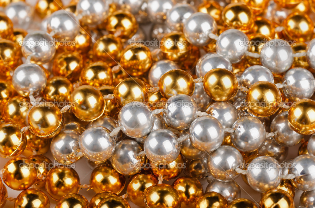 Background of gold and silver christmas beads  Stock Photo #9379564