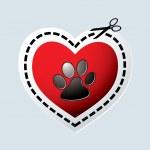 Dog paw heart — Stock Vector