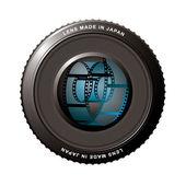 Lens shutter with film — Stock Vector