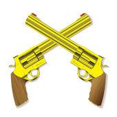 Old gold handgun — Stock Vector