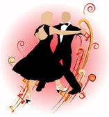 Silhouette dancing couple_ — Stock Vector