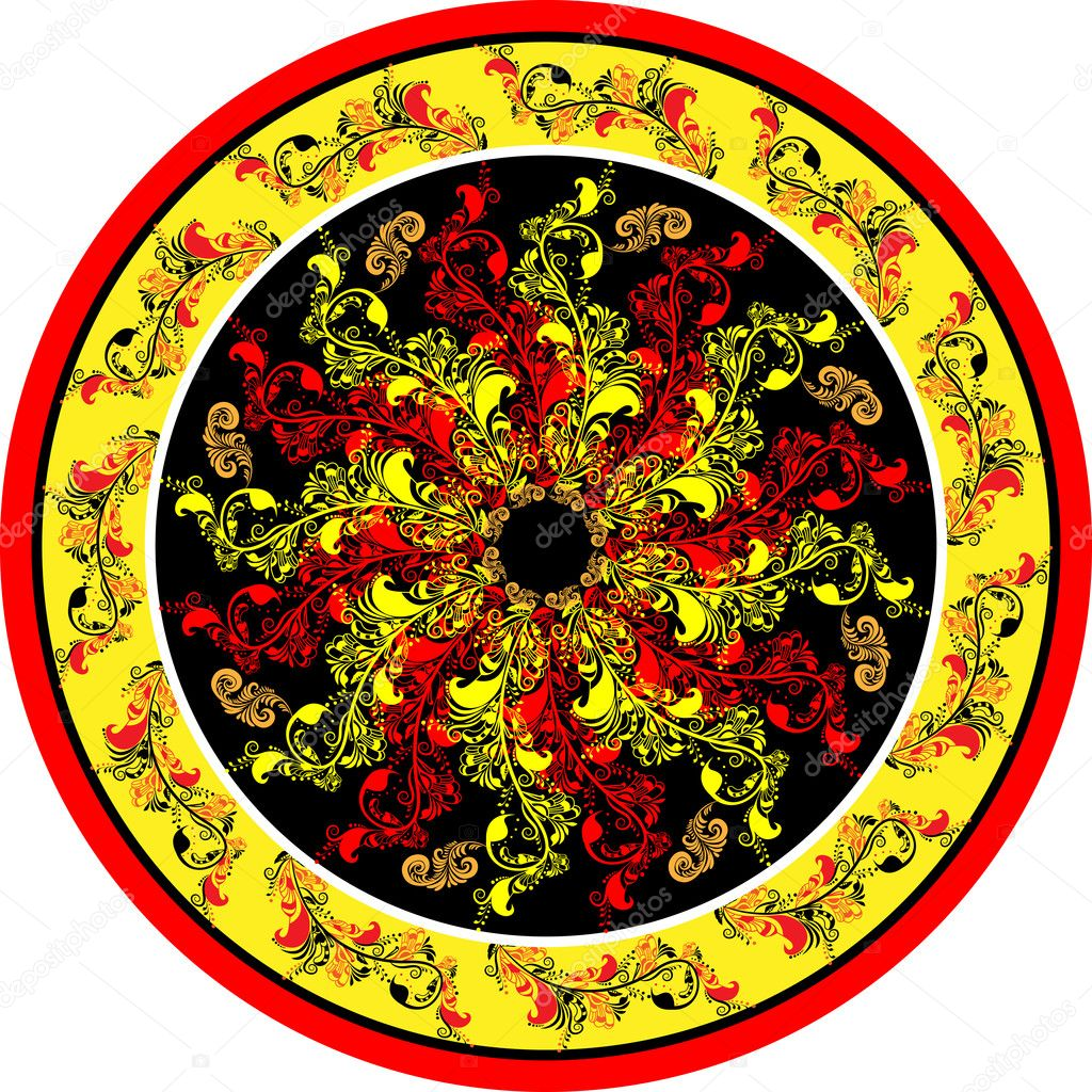 Decorative floral designs on the Russian folk motifs in circle  Stock Vector #9684734