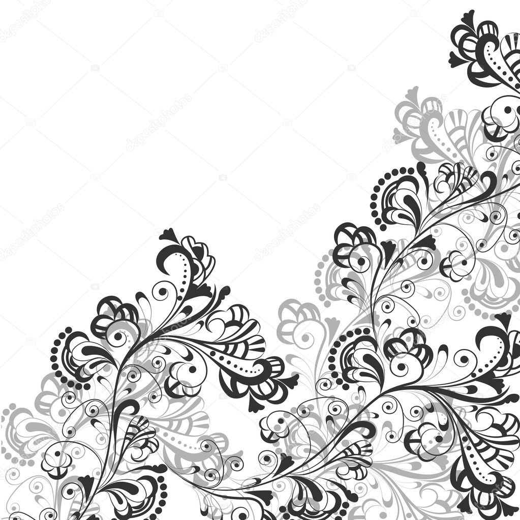 Floral abstract pattern in shades of gray on a transparent background  Stock Vector #9684744