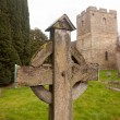 Old wooden cross in Stokesay graveyard — Stock Photo