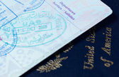 Visa stamps in US passport — Stock Photo