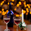 Stock Photo: Sherry glasses in front of xmas tree