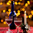 Sherry glasses in front of xmas tree — Stock Photo #8085084
