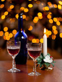 Sherry glasses in front of xmas tree — Stock Photo