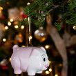 Piggy bank as xmas decoration — Stock Photo