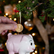 Piggy bank as xmas decoration — Stockfoto