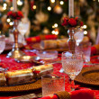 English Christmas table with crackers — Stock Photo