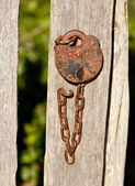 Antique lock and chain on wood — Stock Photo