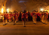 Marching soldiers in Colonial Williamsburg — Stock Photo