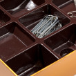 Inside of chocolate box as organizer — Stock Photo