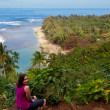 Ke'e beach on Kauai from trail — Stock Photo