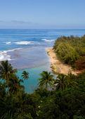 Ke'e beach on Kauai from trail — Foto de Stock