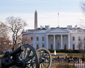 Civil war cannons at White House — Stock Photo