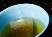 Green tea brewing in hot water in blue cup — Stock Photo