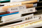 Home handmade file folders for tax papers — Stock Photo