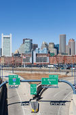 City of Boston with empty interstate junction — Stock Photo