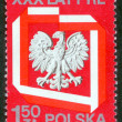 Stock Photo: Poland stamp with Polish Eagle.