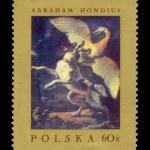 Dog Fighting Heron, by Abraham Hondius postal stamp. — Stock Photo
