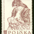 图库照片: POLAND - CIRCA 1959: A stamp printed in Poland shows picture Stanislaw Wyspianski circa 1959.
