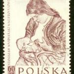 POLAND - CIRCA 1959: A stamp printed in Poland shows picture Stanislaw Wyspianski circa 1959. — Foto de Stock