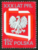 Poland stamp with Polish Eagle. — 图库照片