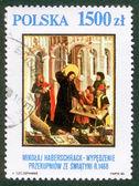 POLAND - CIRCA 1990: A stamp printed in Poland shows picture Mikolay Haberschrack circa 1990. — Stock Photo