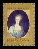 Poland stamp printed in Poland: painting of Fyodor Stepanovich Rokotov — Stock Photo