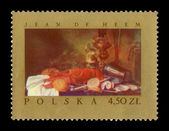 A stamp printed in Poland shows painting of Jean de Heem - Still life with Lobster, circa 1967 — Stock Photo