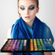 Portrait of beautiful woman with makeup palette. - 图库照片