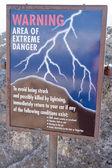 Lightning warning sign — Stock Photo