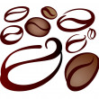 Stock Vector: Set of coffee beans