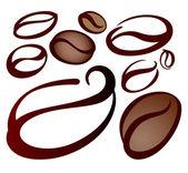 Kahve çekirdekleri kümesi — Stok Vektör