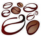Set of coffee beans — Vector de stock