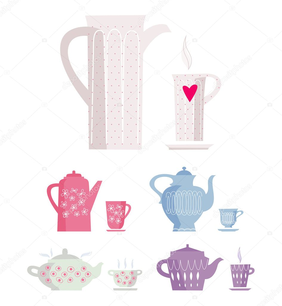 Set of color cup and kettle. jpg include isolated path — Stock Vector #9674673
