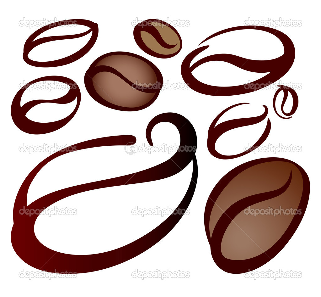 Symbol set of coffee beans on white  Stock Vector #9674675
