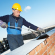 Flat roof covering works with roofing felt — Stock Photo #10094740