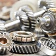 Close-up of automobile engine gears - Stock Photo