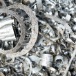 Steel metal scrap materials recycling backround — Stock Photo #10390663