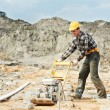Concrete worker work with pla compactor - Stock Photo