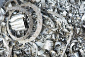 Steel metal scrap materials recycling backround — Stock Photo