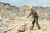 Concrete worker work with pla compactor — Stock Photo