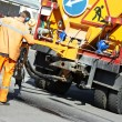 Asphalt patching roadworks — Stock Photo