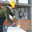 Stock Photo: Flat roof covering works with roofing felt