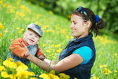 Mother playing with child boy — Stock Photo